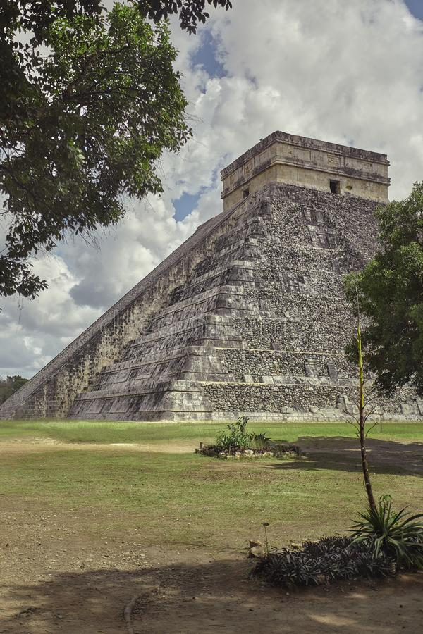 Pyramid of Chichen Itza vertical shot.  royalty free stock photos