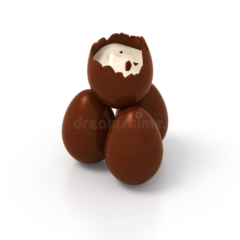 Pyramid of chocolate Easter eggs witch vanilla cream - photorealistic stock images