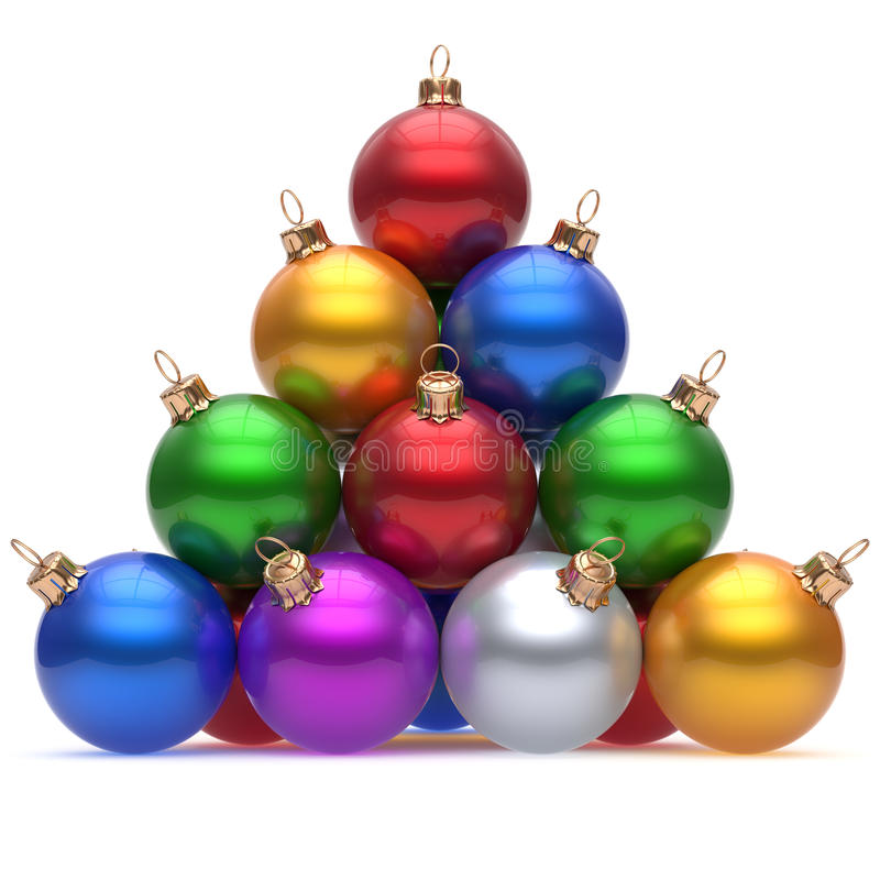 Pyramid christmas ball multicolored red on top New Year's Eve vector illustration
