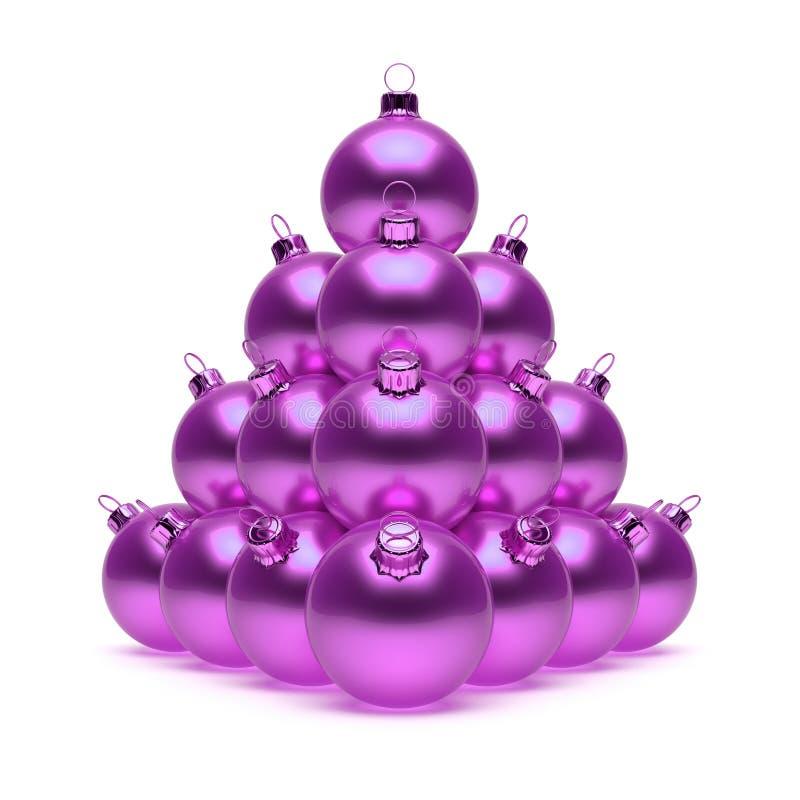Pyramid Christmas ball purple violet shiny stock illustration