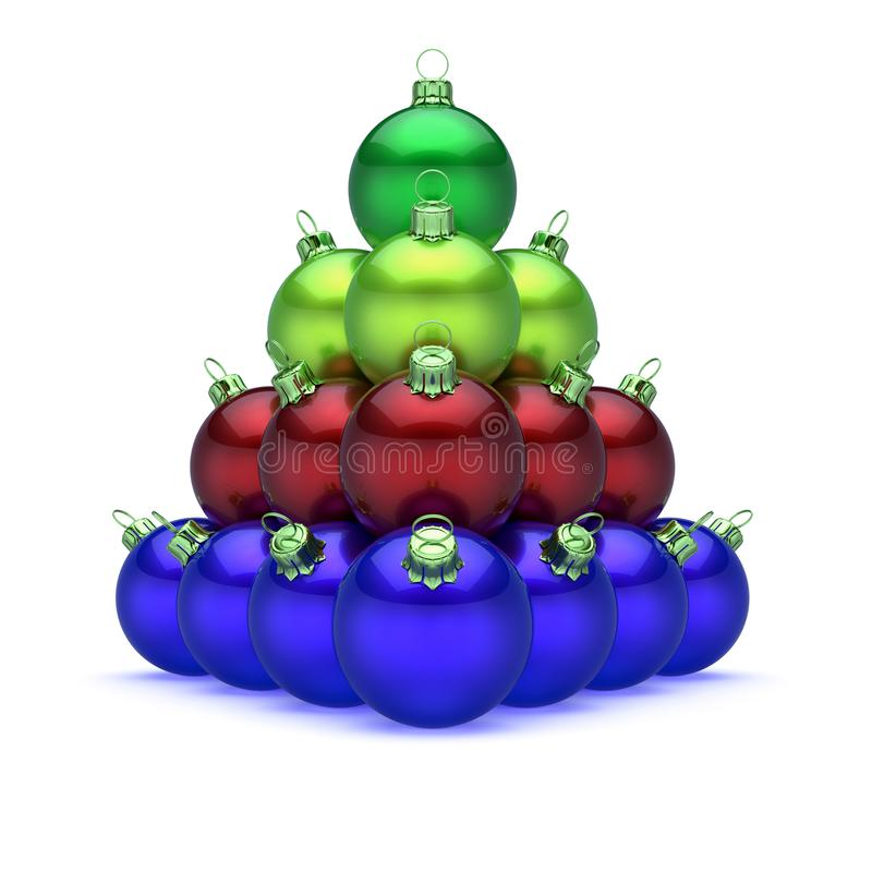 Pyramid Christmas balls colorful blue red green on top royalty free illustration