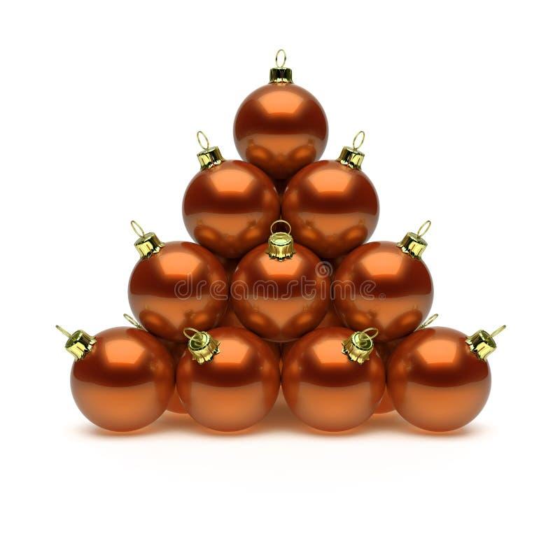Pyramid of Christmas balls orange shiny golden stock illustration