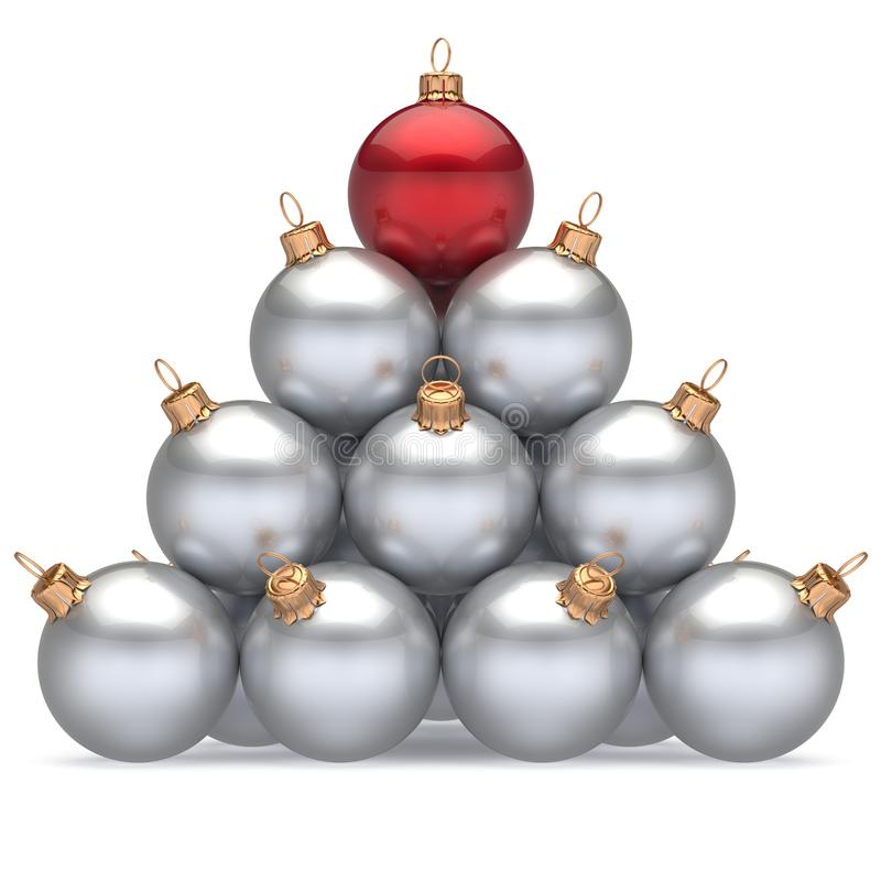 Pyramid christmas balls white leader red on top first place win vector illustration