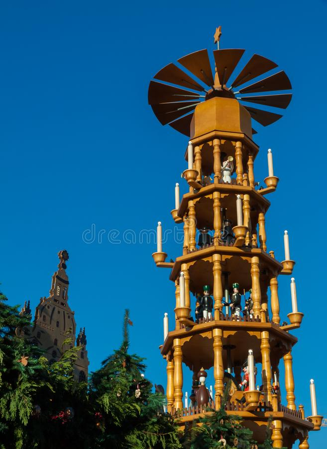 The pyramid of the christmas market in Dresden stock photography