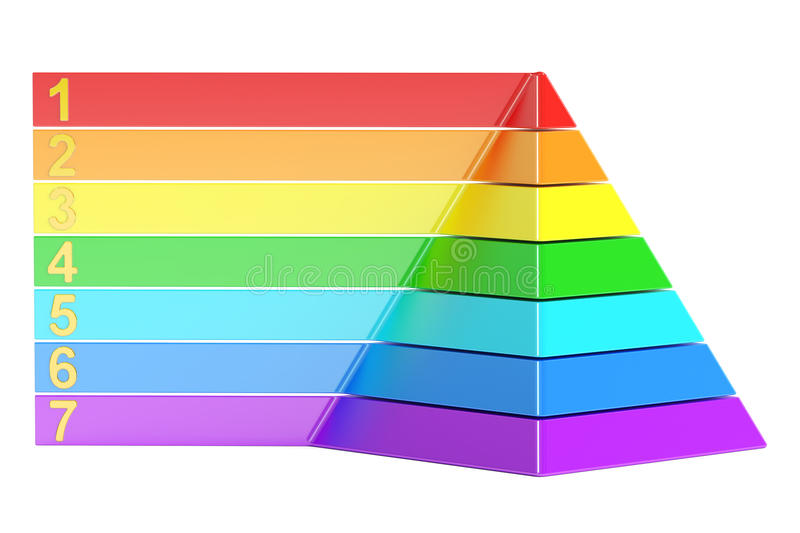 Pyramid with color levels, pyramid chart. 3d rendering royalty free illustration