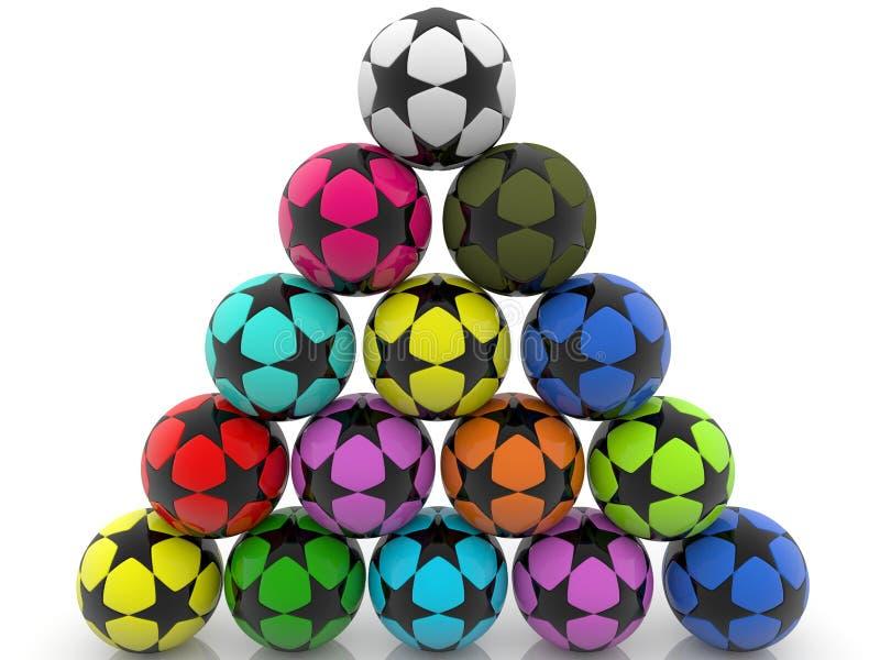Pyramid of colorful soccer balls royalty free stock photos