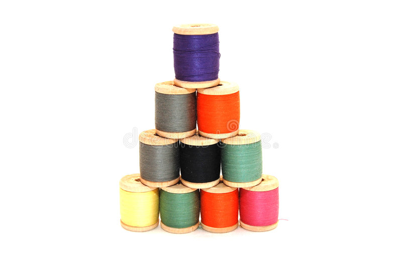 Pyramid combined from with threads stock image