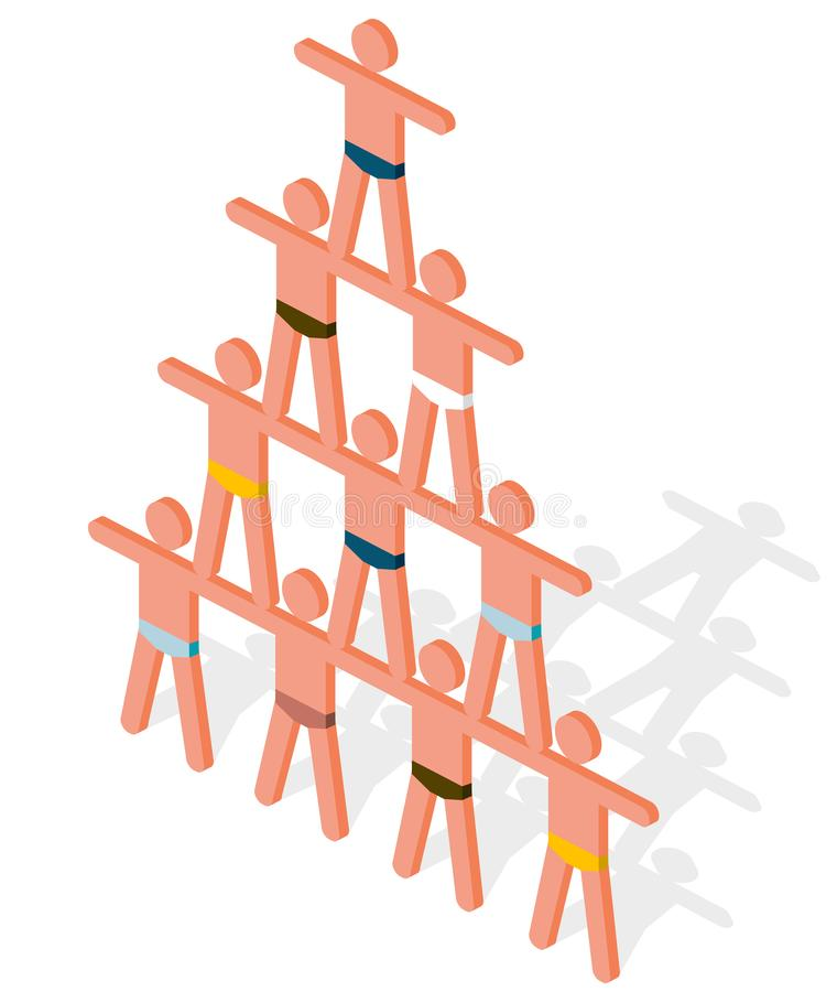 Pyramid composed of human bodies. Symbolism of friendship, cooperation, human belonging, togetherness and partnership. Artistic performance, team coworking stock illustration