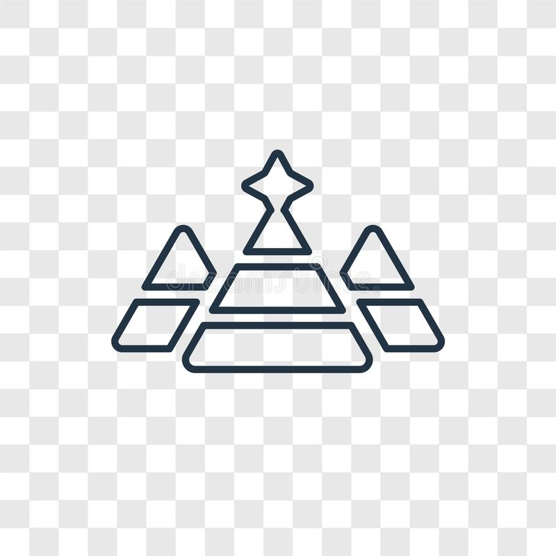 Pyramid concept vector linear icon isolated on transparent background, Pyramid concept transparency logo in outline style. Pyramid concept vector linear icon royalty free illustration