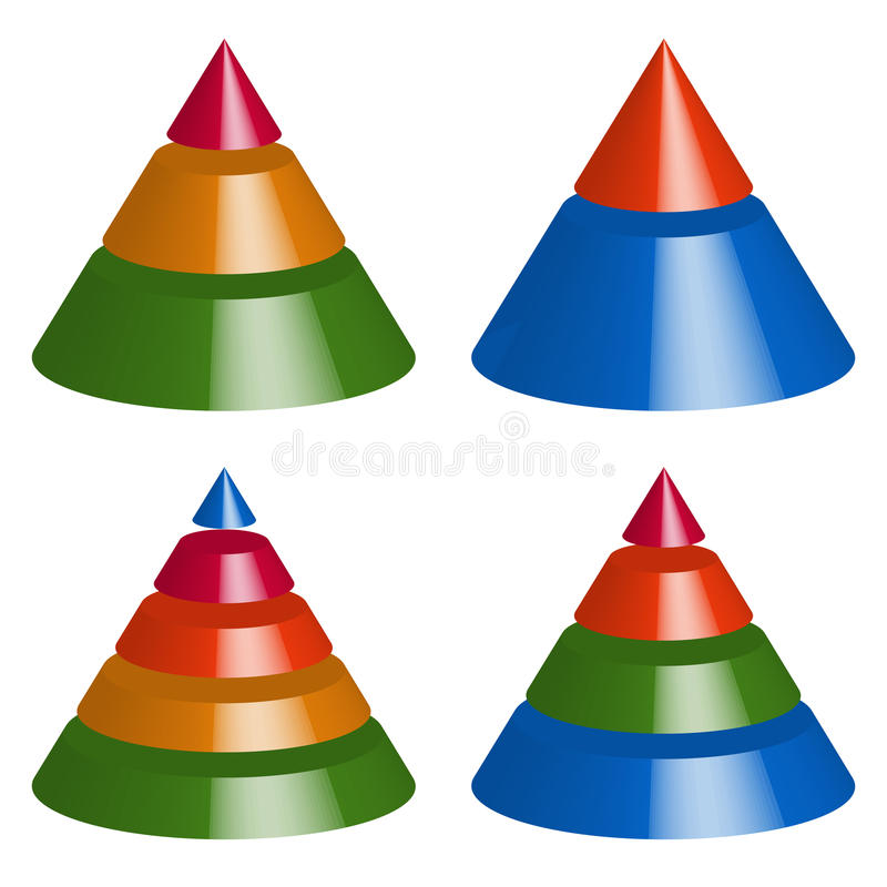 Pyramid, cone charts. 3-2-5-4 levels. Multilevel triangle 3d graphs stock illustration
