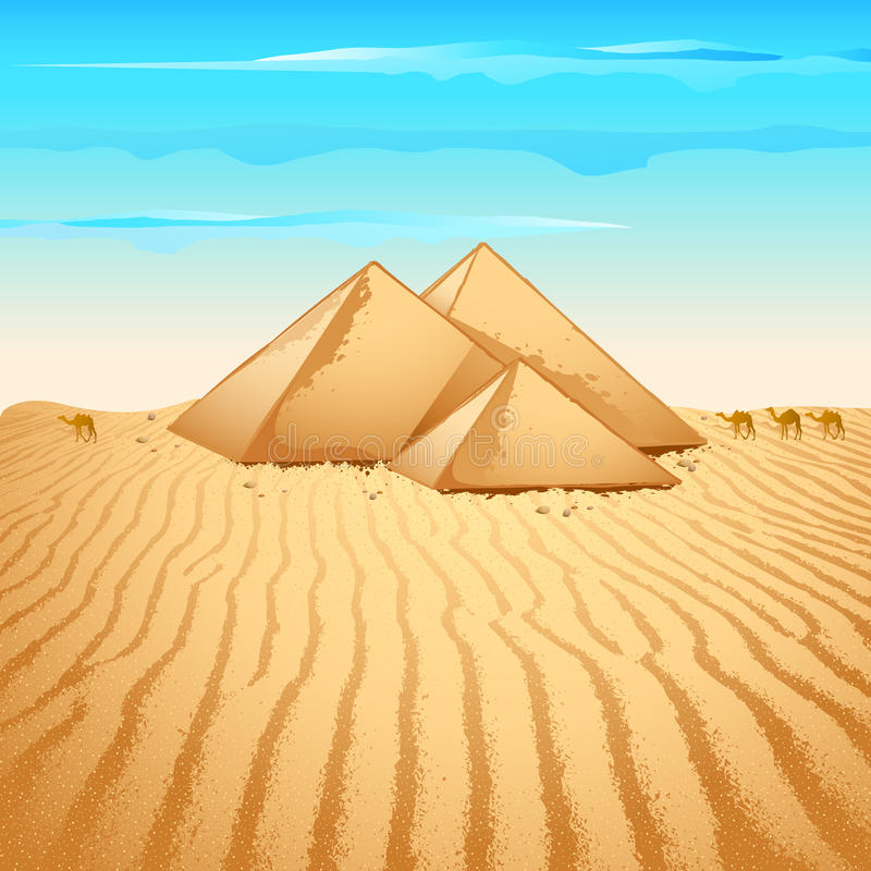 Download Pyramid in Desert stock vector. Image of editable, background - 20781639