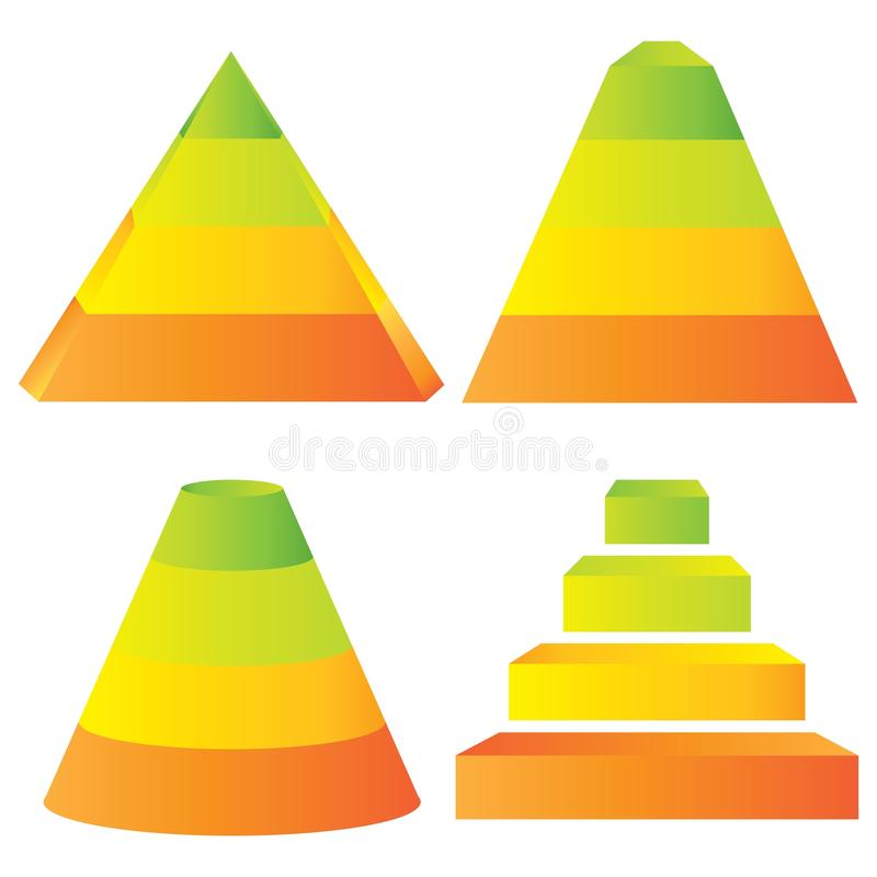 Pyramid diagram. Set of 4 colorful pyramid diagrams stock illustration