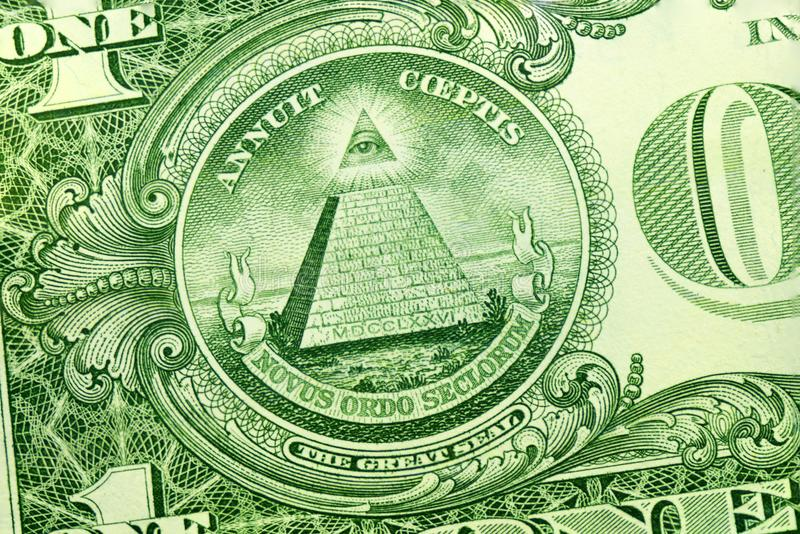 Pyramid on the dollar. On the reverse side stock photo