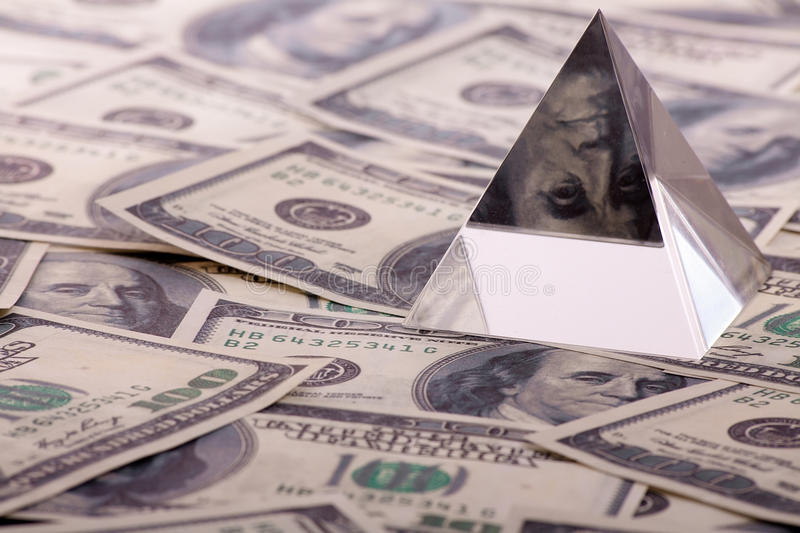 Download Pyramid on dollars stock photo. Image of decline, loan - 18014504