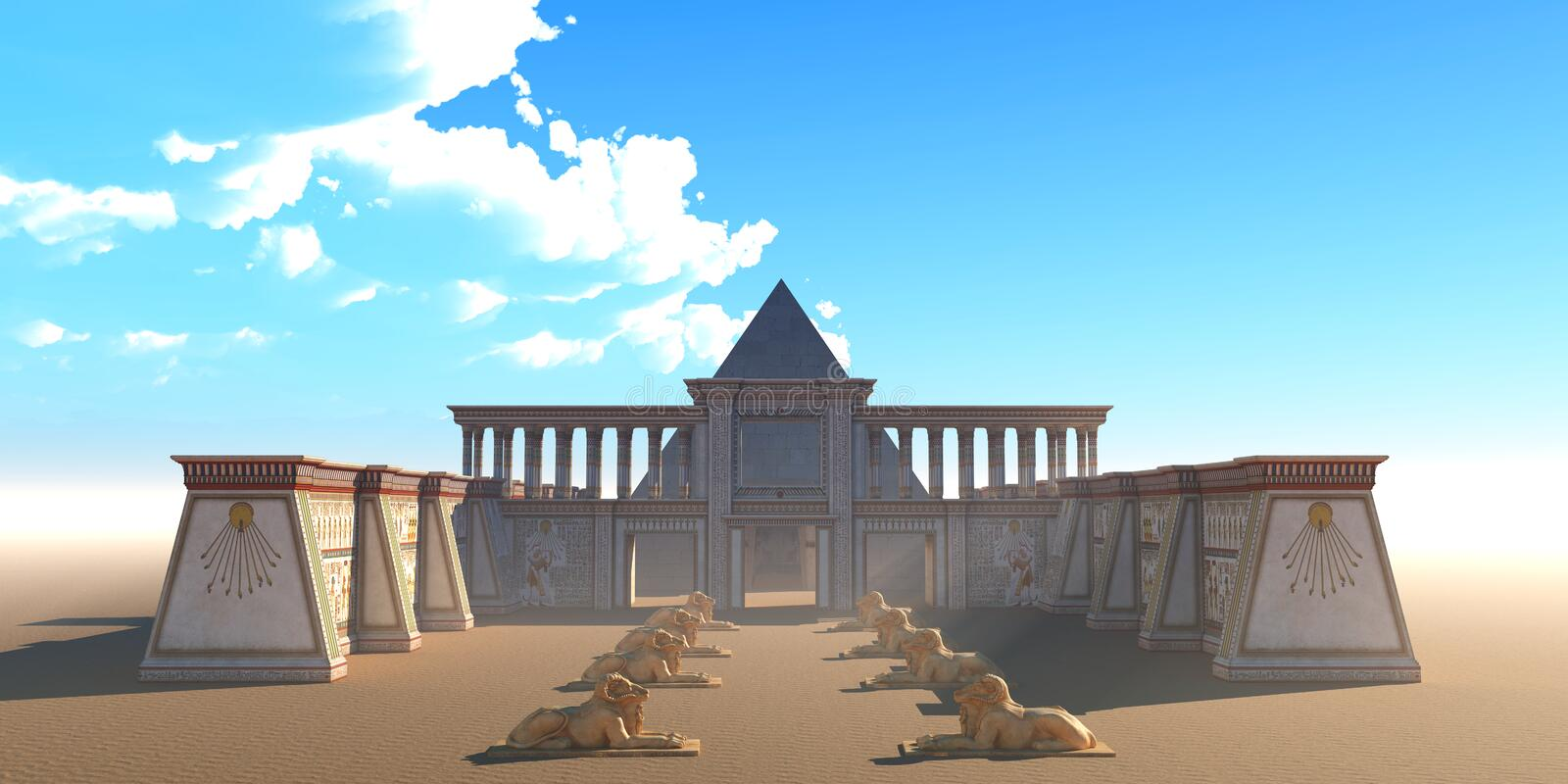 Pyramid Egyptian Temple. An Egyptian temple and pyramid building complex in the deserts of Egypt along the Nile river royalty free illustration