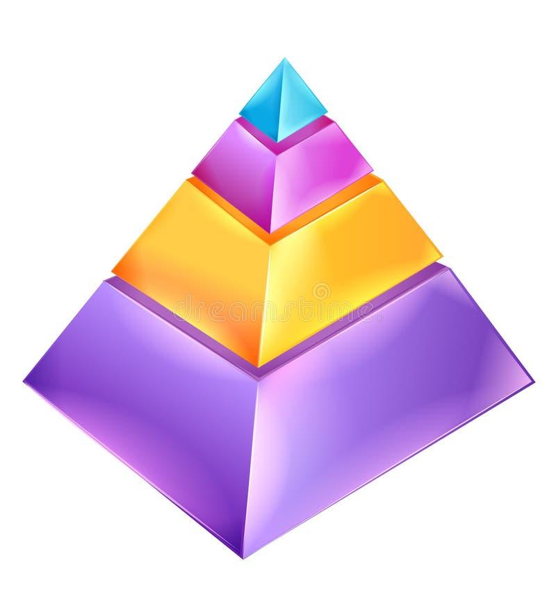 pyramid för diagram 3d stock illustrationer