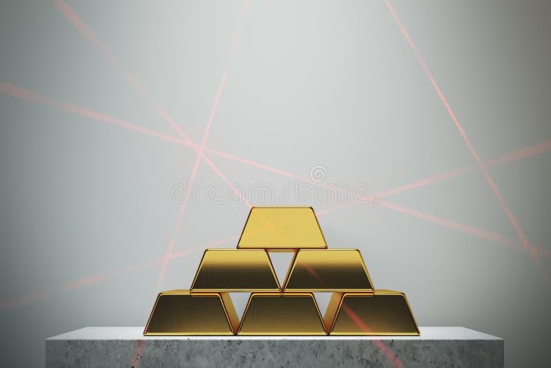 Pyramid för guld- stänger, vit vägg vektor illustrationer