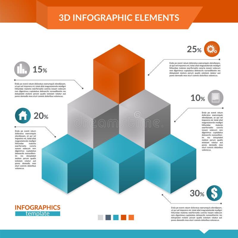 pyramid för infographics 3d av kubdiagrammet vektor illustrationer