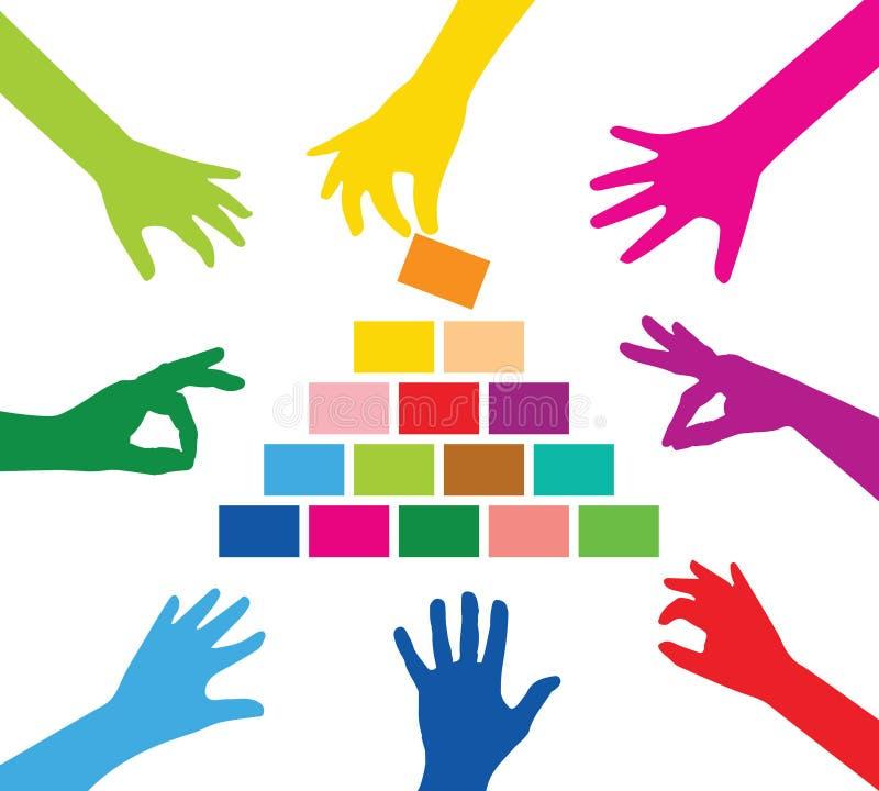 Pyramid för lagbyggnad stock illustrationer
