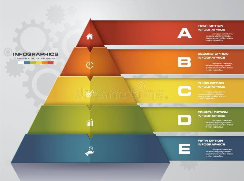 pyramid för 5 moment med fritt utrymme för text på varje nivå infographics presentation royaltyfri illustrationer