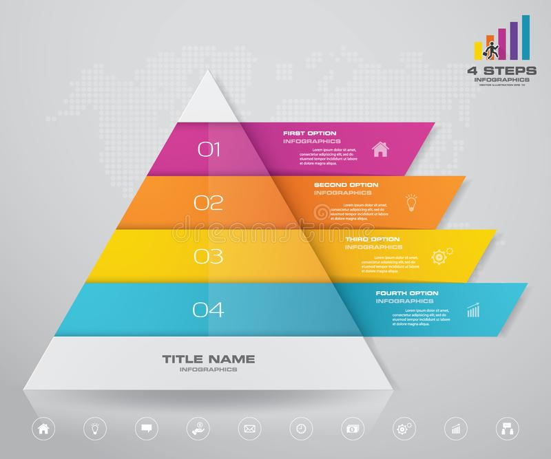 pyramid för 4 moment med fritt utrymme för text på varje nivå infographics, presentationer eller advertizing stock illustrationer