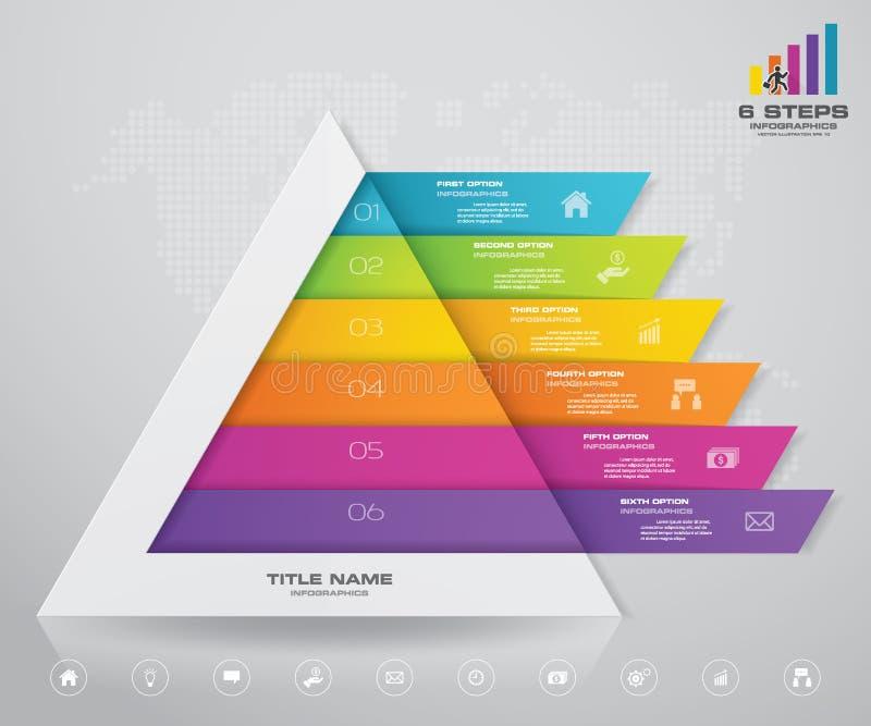 pyramid för 6 moment med fritt utrymme för text på varje nivå vektor illustrationer