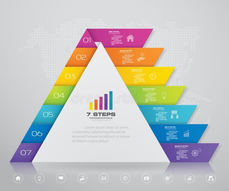 pyramid f?r 7 moment med fritt utrymme f?r text p? varje niv? infographics, presentationer eller advertizing royaltyfri illustrationer