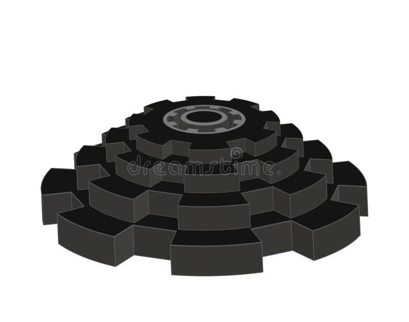 Pyramid för vektor som 3d komponeras av isolerade kugghjulhjul royaltyfria foton