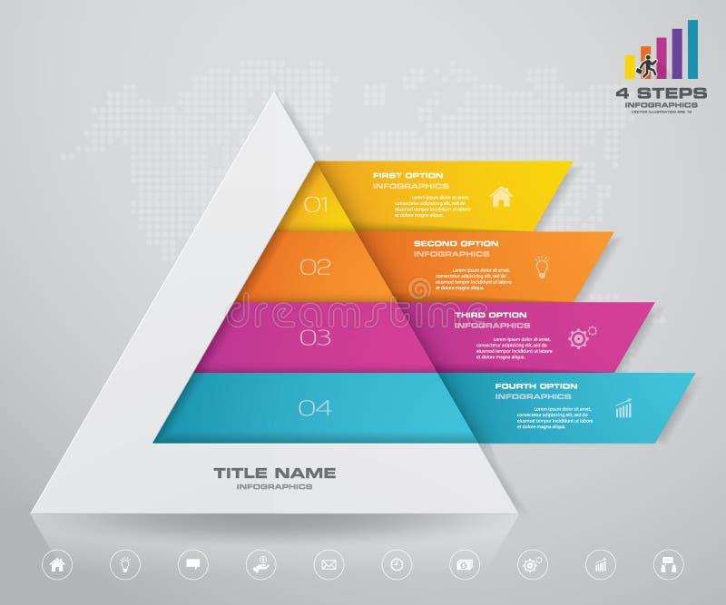 pyramid f?r 4 moment med fritt utrymme f?r text p? varje niv? vektor illustrationer