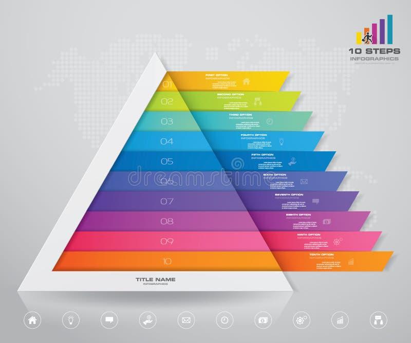 pyramid f?r 10 moment med fritt utrymme f?r text p? varje niv? vektor illustrationer