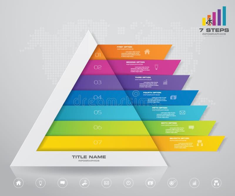 pyramid f?r 7 moment med fritt utrymme f?r text p? varje niv? stock illustrationer
