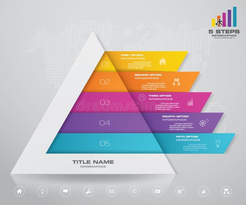 pyramid för 5 moment med fritt utrymme för text på varje nivå infographics, presentationer eller advertizing royaltyfri illustrationer