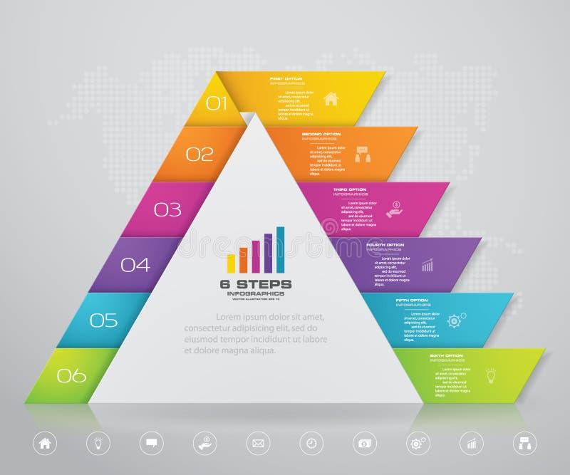 pyramid f?r 6 moment med fritt utrymme f?r text p? varje niv? stock illustrationer