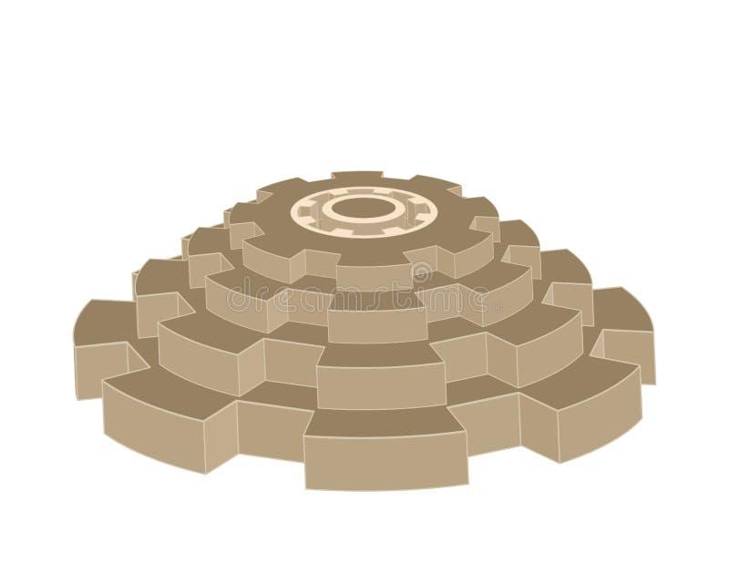Pyramid f?r vektor som 3d komponeras av isolerade kugghjulhjul arkivbilder