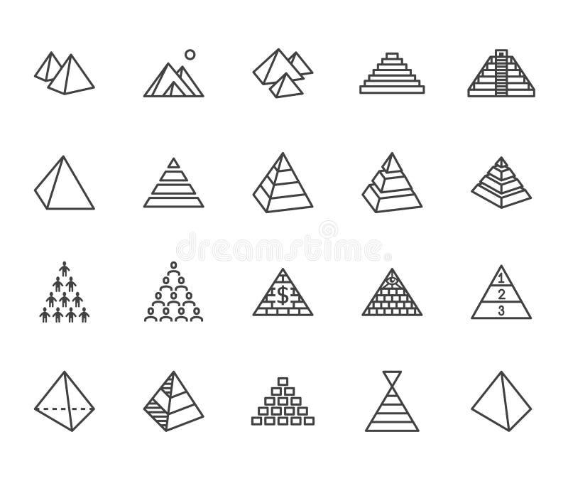 Pyramid flat line icon set. Egyptian monument, abstract process infographic, ponzi scheme, network marketing, leader royalty free illustration
