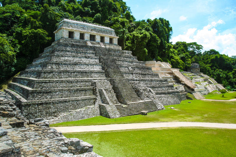 Pyramid in the forest, Temple of the Inscriptions. Palenque, Mexico. The Temple of Inscriptions had begun perhaps as early as 675 as the funerary monument of stock photos