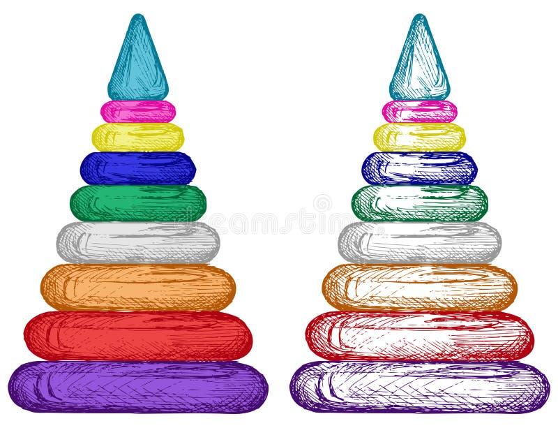 Pyramid från färgrika plast- cirklar vektor illustrationer