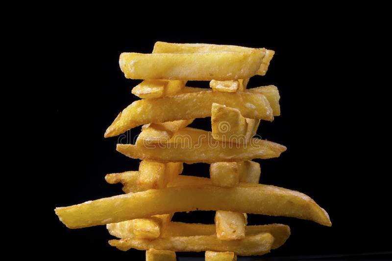 Pyramid of french fries stock images