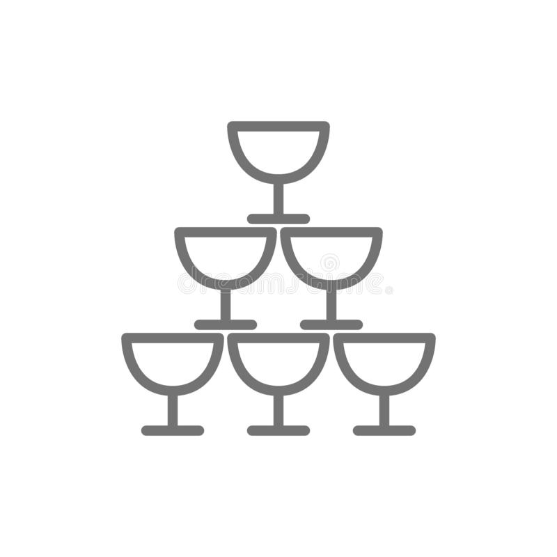 Pyramid of glass goblets line icon. stock illustration