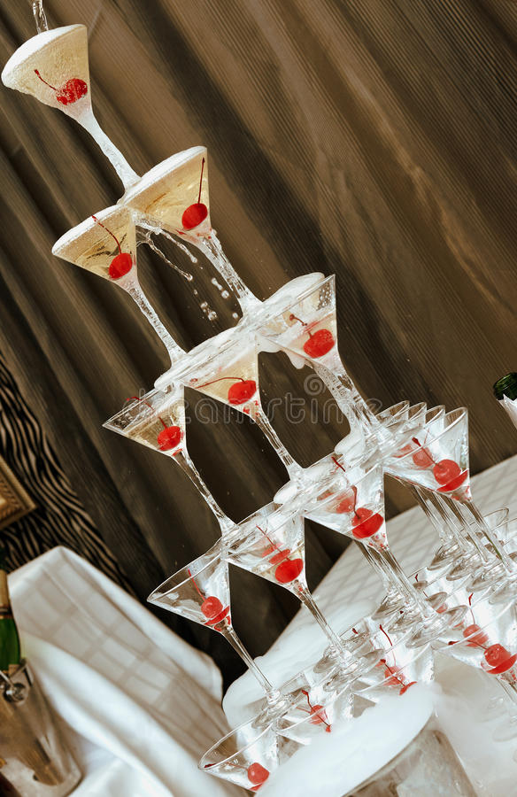 Pyramid from glasses. stock photo