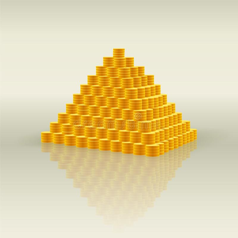 Pyramid of gold coins - symbol of wealth and a lot of money, financial Pyramid and fraud stock illustration