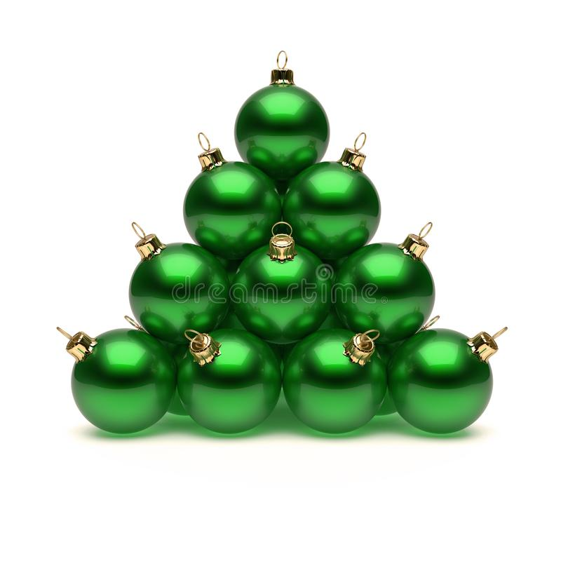 Pyramid of green Christmas balls shiny. New Year`s Day baubles vector illustration