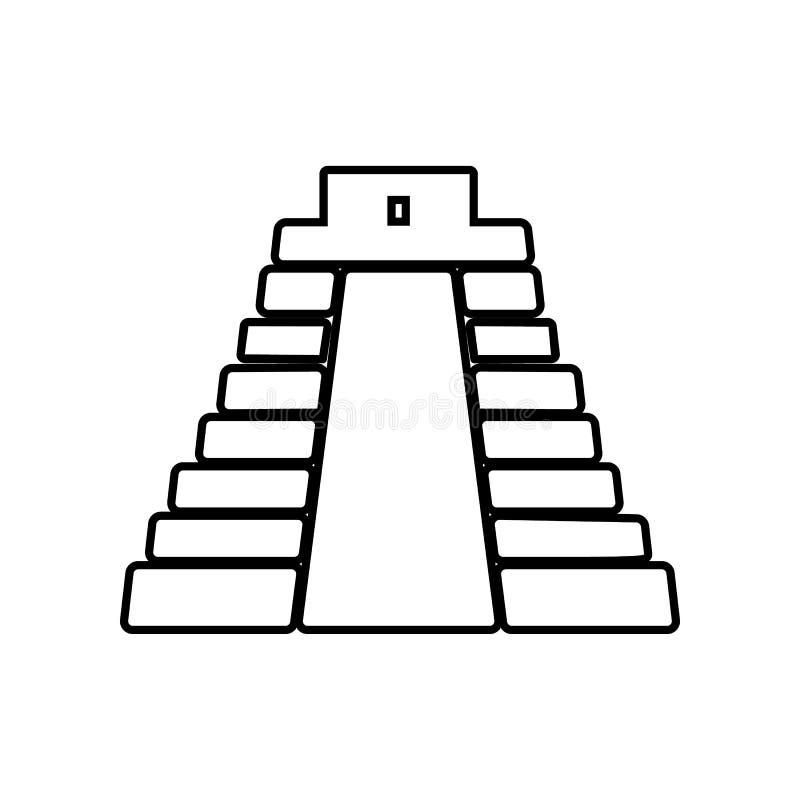 pyramid i den Mexico symbolen Best?ndsdel av Mexico f?r mobilt begrepp och reng?ringsdukappssymbol ?versikt tunn linje symbol f?r stock illustrationer