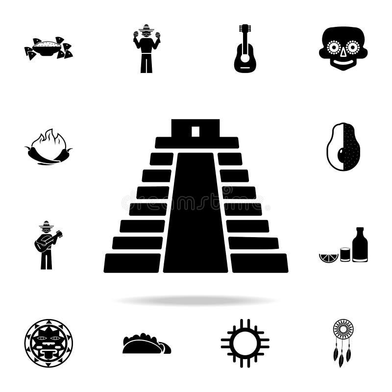 pyramid i den Mexico symbolen Detaljerad uppsättning av symboler för beståndsdelMexico kultur Högvärdig grafisk design En av saml vektor illustrationer
