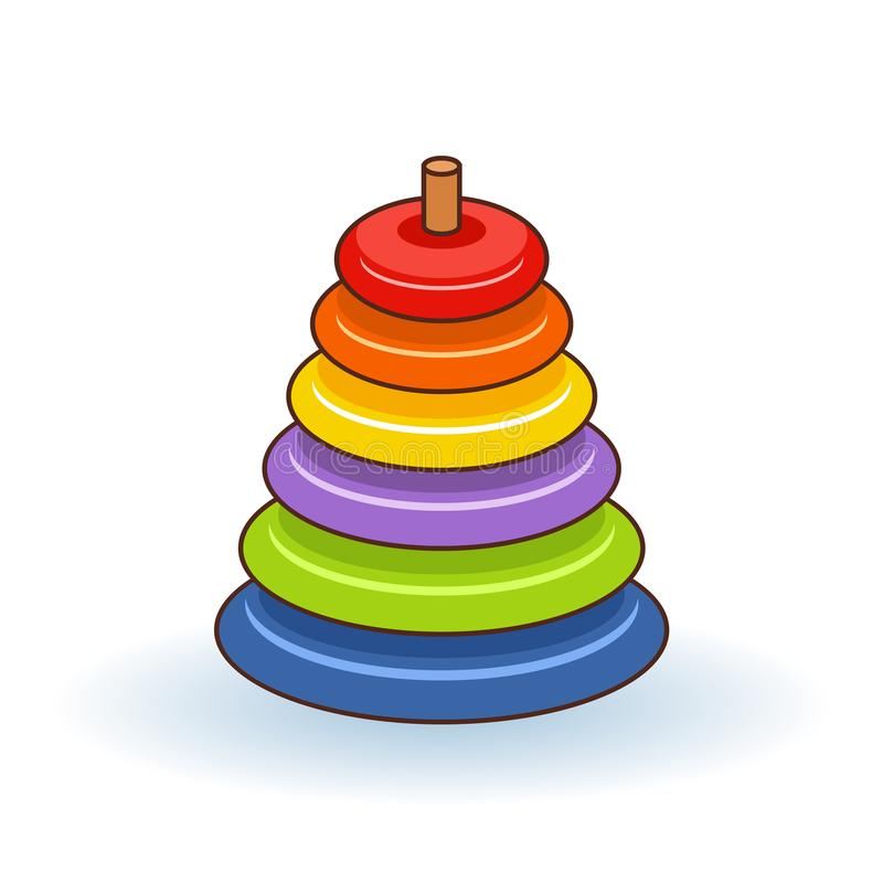 Pyramid icon. Childrens colorful plastic toy. Rainbow color stacking ring set. Triangle shape. Education card for kids. White background. Flat design. Vector stock illustration