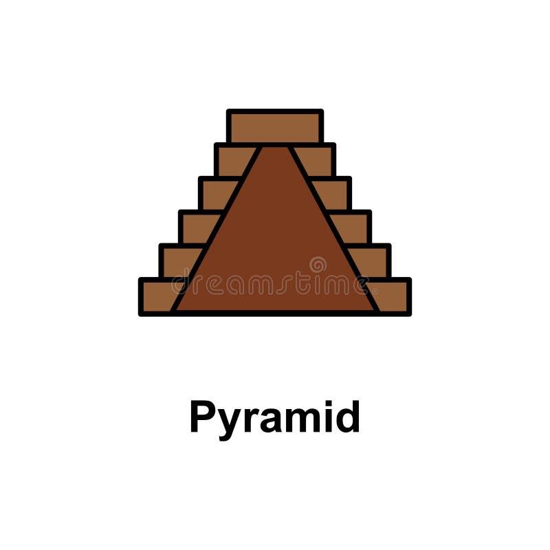 Pyramid icon. Element of Cinco de Mayo color icon. Premium quality graphic design icon. Signs and symbols collection icon for vector illustration