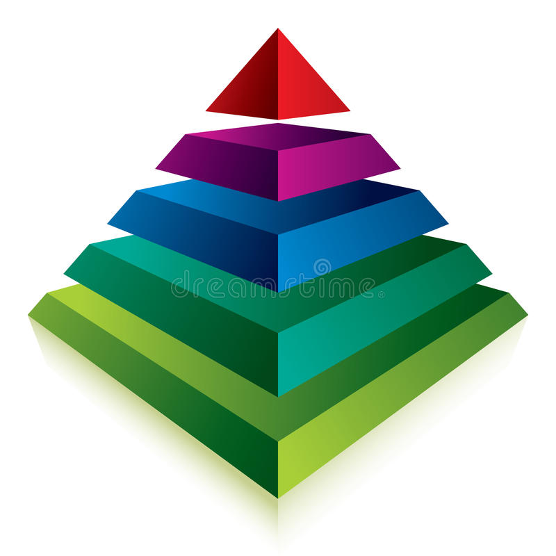 Pyramid icon with five layers. vector illustration