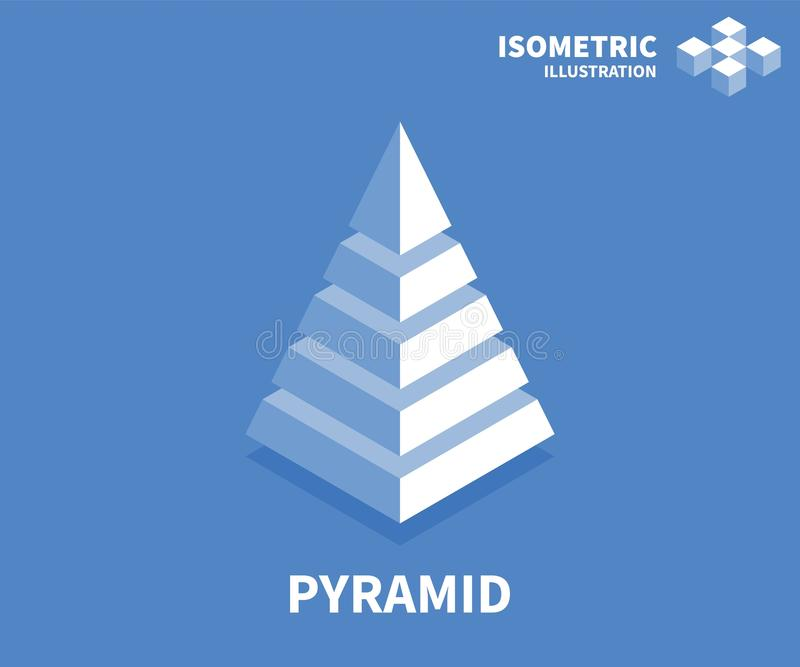 Pyramid icon. Isometric template for web design in flat 3D style. Vector illustration royalty free illustration