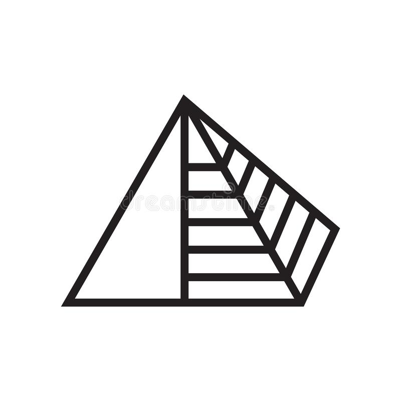 Pyramid icon vector sign and symbol isolated on white background, Pyramid logo concept royalty free illustration