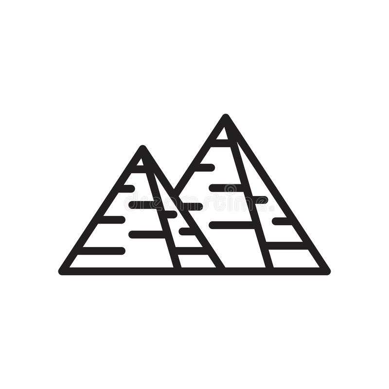 Pyramid icon vector sign and symbol isolated on white background stock illustration